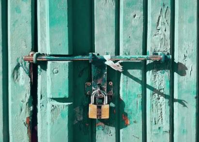 Green door and lock
