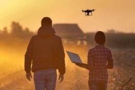 Two farmers standing in a paddock with a drone and laptop