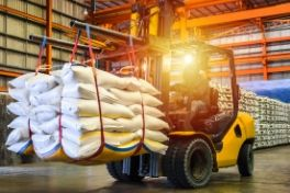 Forklift carrying sugar
